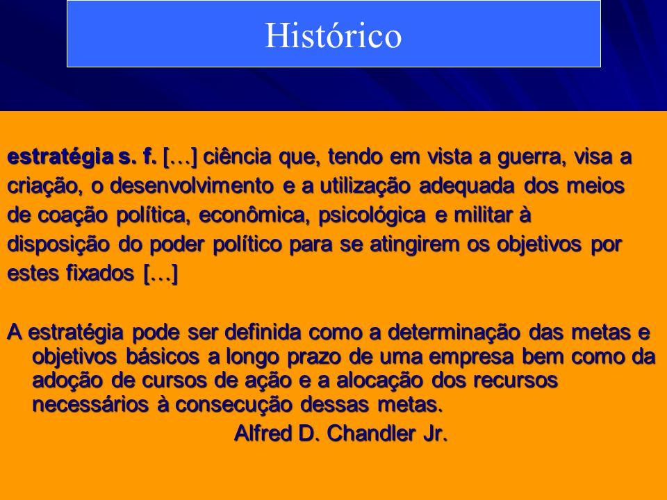 Histórico estratégia s. f. […] ciência que, tendo em vista a guerra, visa a. criação, o desenvolvimento e a utilização adequada dos meios.